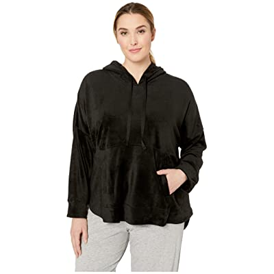 Donna Karan Plus Size Hooded Top (Black) Women
