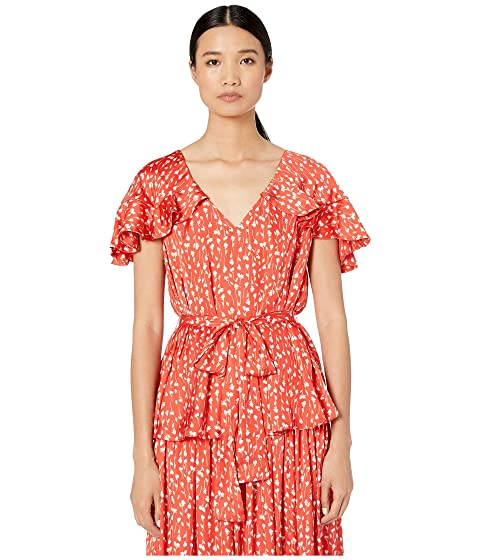 ML Monique Lhuillier Printed Top with Ruffled Sleeves