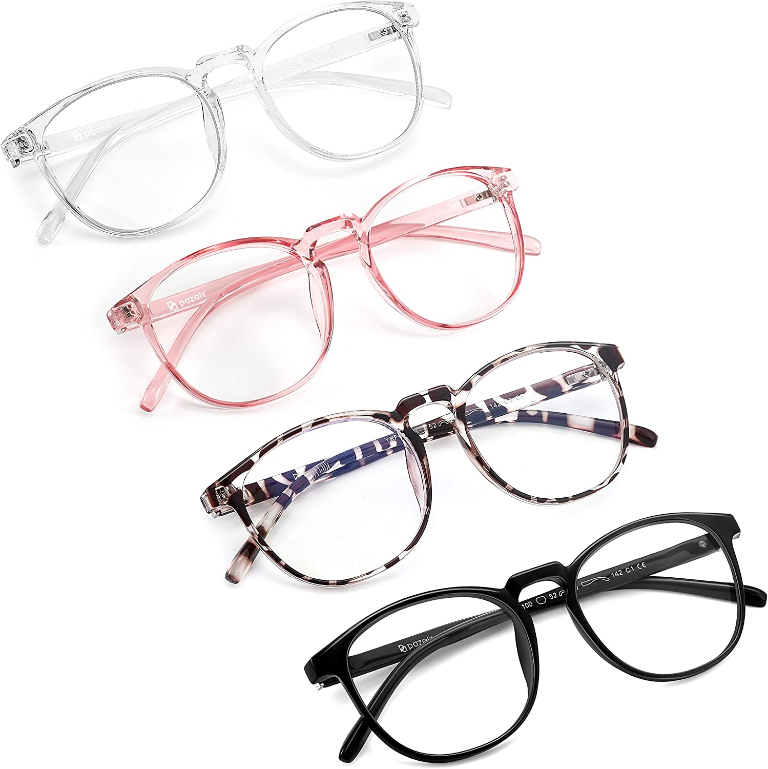 PAZELY 4 Pairs of Oval Frame Ranking TOP12 Blue depot for Wome Men Glasses and Light