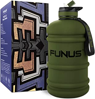 FUNUS Big Water Bottle 2.2L BPA Free Half Gallon Water Bottle Jug Reusable Water Bottle for Men Women Fitness Sport Gym Ou...