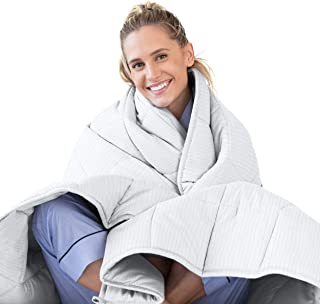 Luna Adult Weighted Blanket | 15 lbs - 60x80 - Queen Size Bed | 100% Oeko-Tex Certified Cooling Cotton & Premium Glass Beads | Designed in USA | Heavy Cool Weight for Hot & Cold Sleepers | Grey Stripe
