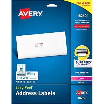 "Avery Address Labels with Sure Feed for Laser & Inkjet Printers, 1"" x 2-5/8"", 750 Labels"