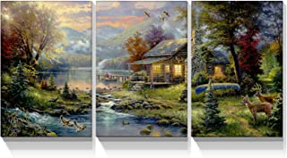 Looife 3 Panels Nature Scenery Canvas Wall Art, 24x36 Inch 3 Pieces Rural Life Scene Painting Picture Prints Artwork Wall ...