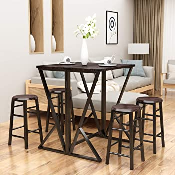 Silver Dining Table And Chairs, Amazon Com Harper Bright Designs 5 Piece Dining Table Set Kitchen Drop Leaf Table With 4 Bar Stools Dining Set Furniture Table Chair Sets