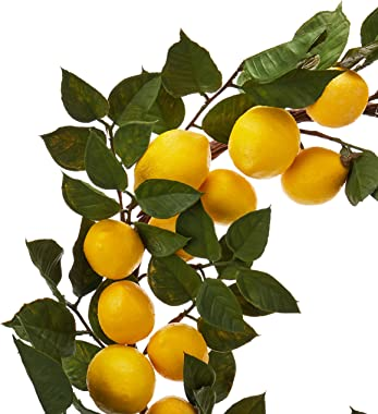 "Nearly Natural 4567 24"" Lemon Wreath,17.5'' x 4'' x 17.25''"