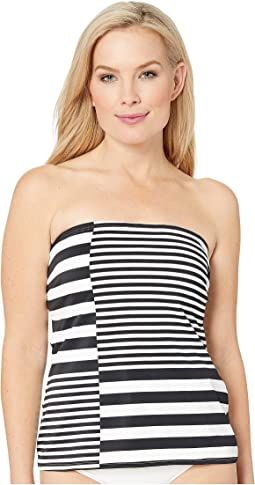 Stripe Group Lace-Up Bandeau Tankini Top