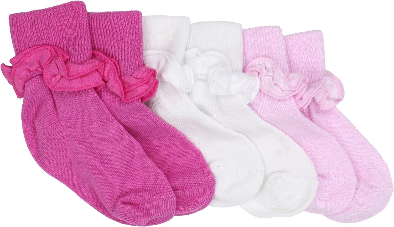 Country Kids Baby Girls' Ruffle Turncuff 3 Pair Socks