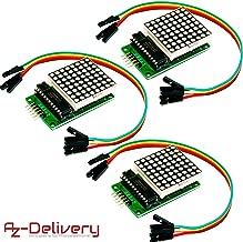 AZDelivery 3 x MAX7219 8x8 1 Dot Matriz Modulo de Pantalla LED MCU Matrix para Arduino con ebook Gratis!