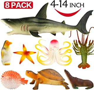 Funcorn Toys Ocean, 4-14 Inch Large Vinyl Plastic Animal Set(8 Pack) Realistic Under The Sea Life Figure Bath Toy for Child Toddler Educational Party Favors,Octopus Shark Turtle, 1