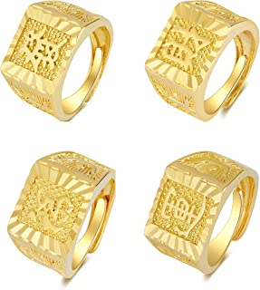 Axmerdal 4PCS Gold Ring for Men Wedding Rings 18K Gold Plated Ring Set Jewelry Gifts