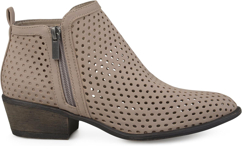 Brinley Co Womens Side Zip Laser Cut Ankle Booties