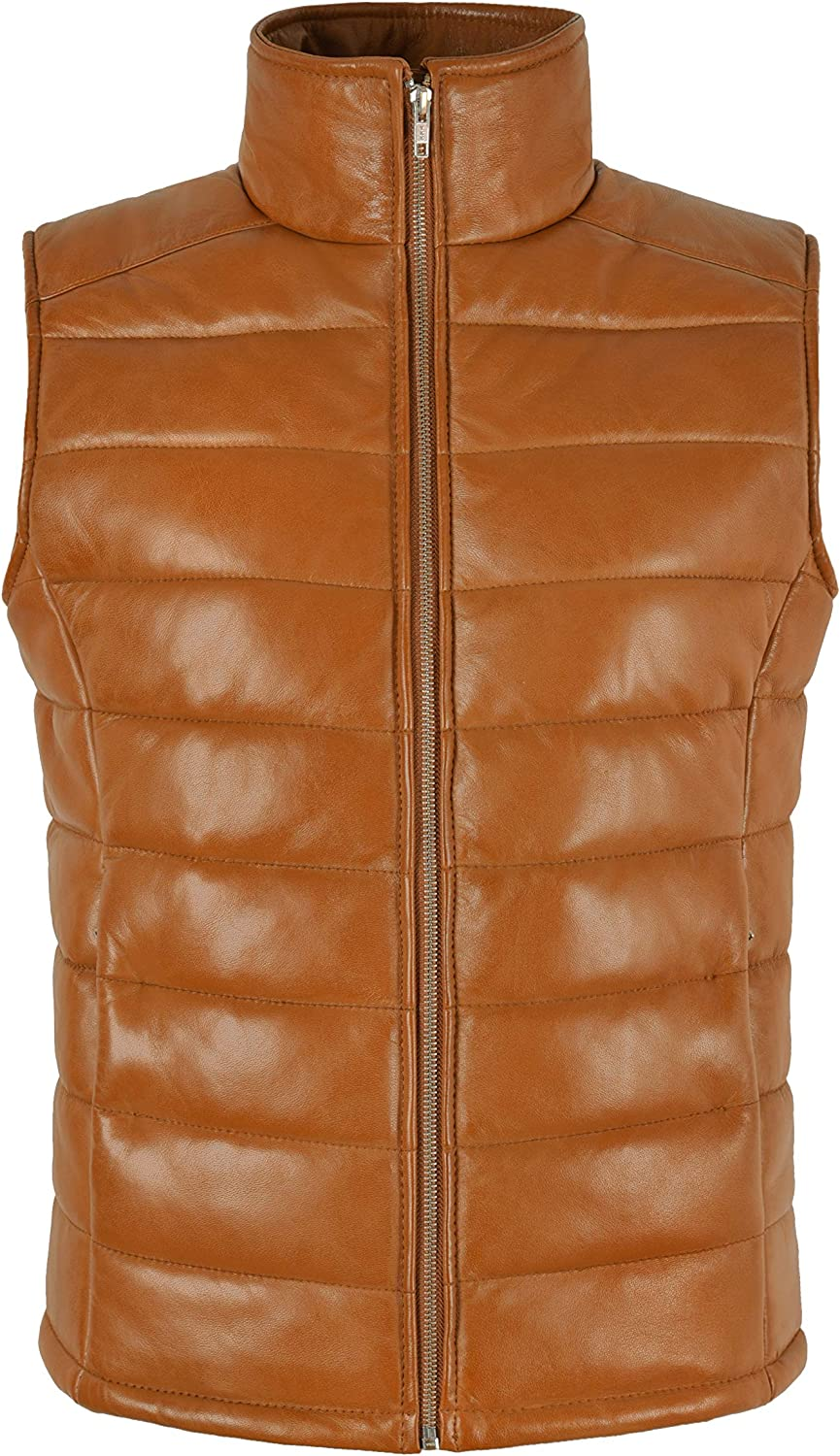 Womens Padded Vest Puffer Bodywarmer Real Leather Sleeveless Quilted Waistcoat 5630