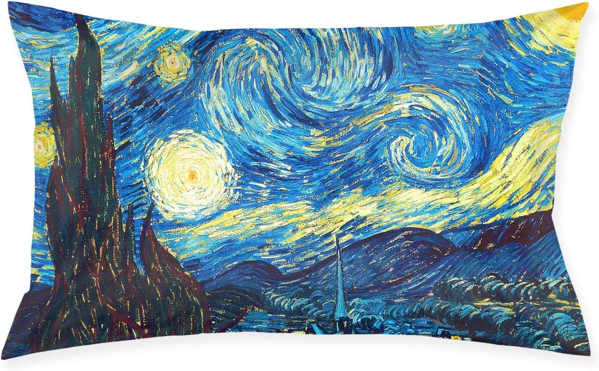 Amazon Com Skyisok Van Gogh The Starry Night Pillowcases Decorative Pillow Covers Soft And Cozy Standard Size 20 X30 With Hidden Zipper Home Kitchen