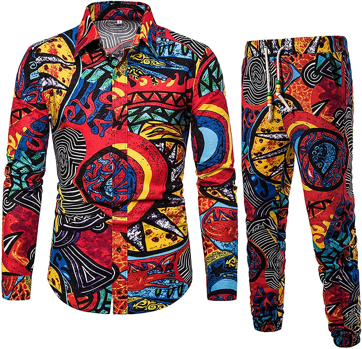 raillery Men's Casual Tracksuit Ethnic service Printed and Style Cotton San Francisco Mall
