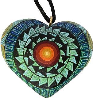 Dije Alebrije Corazón (Grecas Zapotecas) [Color Verde/Círculo]