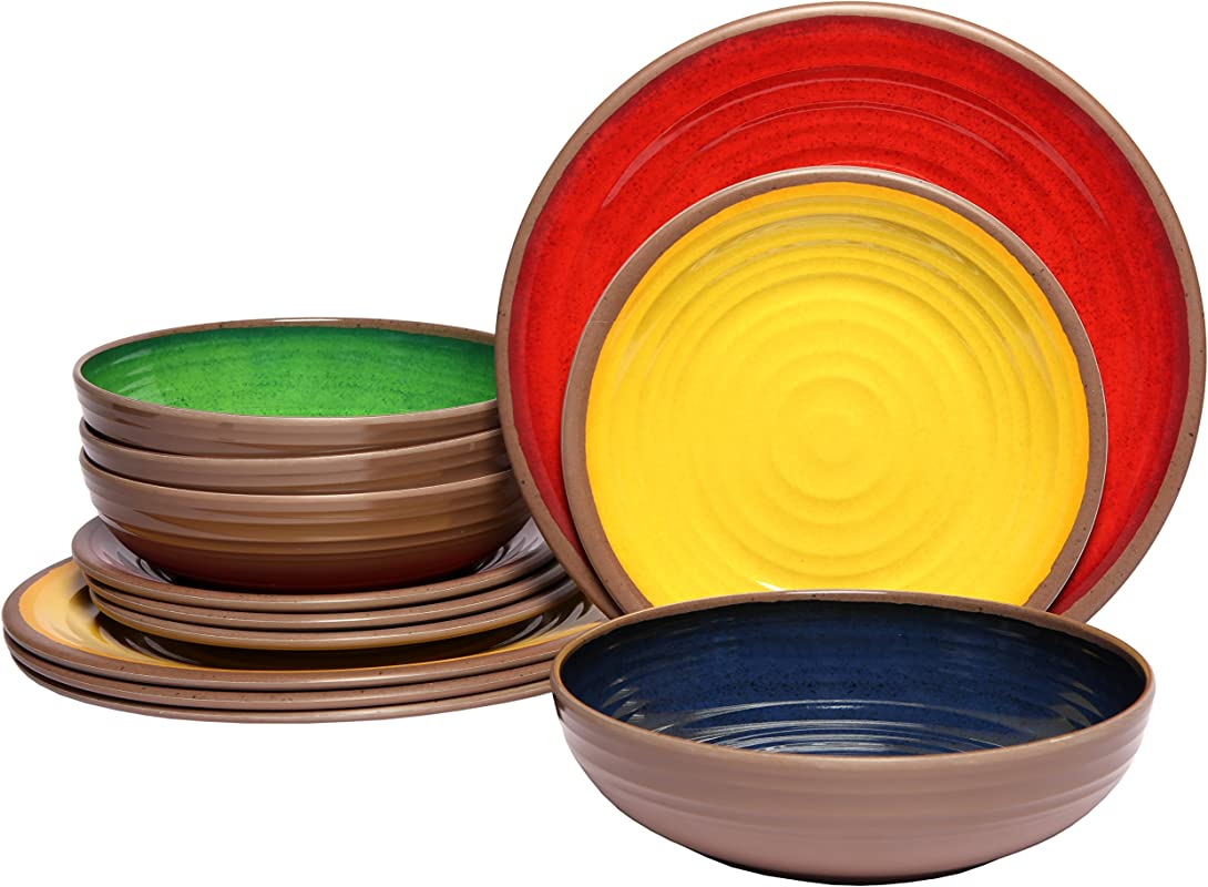 Melange 36 Piece 100 Melamine Dinnerware Set Clay Collection Shatter Proof And Chip Resistant Melamine Plates And Bowls Color Multicolor Dinner Plate Salad Plate Soup Bowl 12 Each