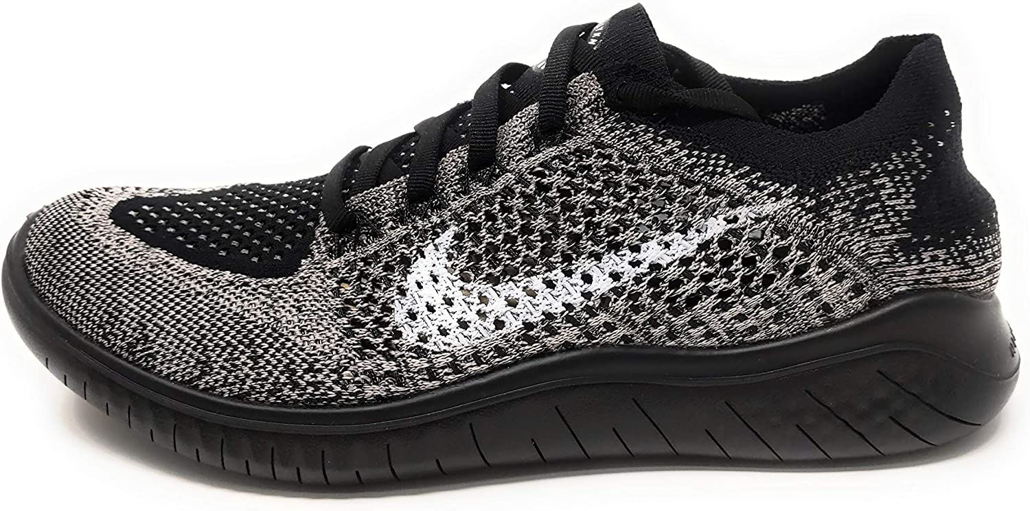 Nike Womens Free RN Flyknit 2018 Moon Particle/White-Black Running Shoes (10)
