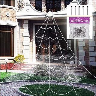 ديكور هالوين خارجي شبكة عنكبوت عملاقة مخيفة مع شبكة عنكبوت قابلة للتمدد للغاية لتزيين ساحة الهالوين