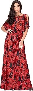 KOH KOH Womens Split Sleeves Printed Casual Cocktail Sundresses Long Maxi Dress