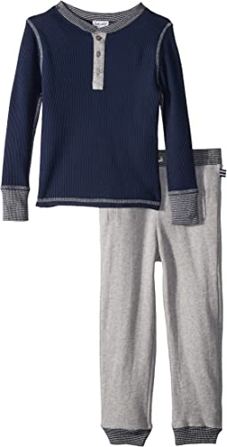 Waffle Knit Henley Set (Little Kids/Big Kids)