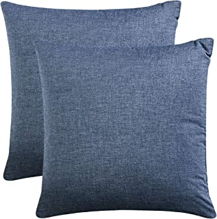 Wake In Cloud - Pack of 2 Cushion Covers, 100% Washed Cotton Throw Cases, Denim Blue Yarn Dyed Plain Solid Color Comfy Soft (Square, 18x18 Inches)
