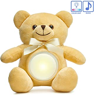 Baby Night Light Teddy Bear- Musical LED Stuffed Animal Night Light Plush Toy Cute & Realistic Glow Teddy Bears Stuffed Animals Creative Light up Plush Toy Gift for Girl Boy Kids 9""