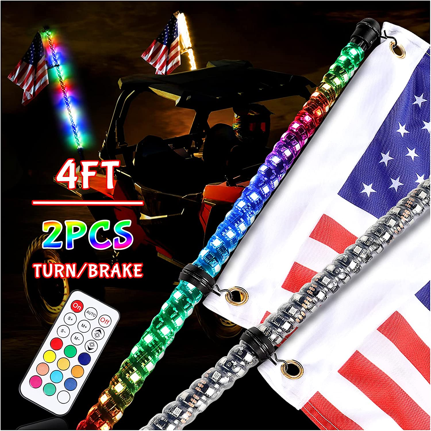 Niking Auto 2Pcs It is very popular 4ft LED Fort Worth Mall Whip Turn Lights Signal Rever Brake w