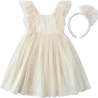 CHUBBYBUN BABY Toddler Girls Dot Tulle Sleeveless Dress with Headband (Ivory 5Y)
