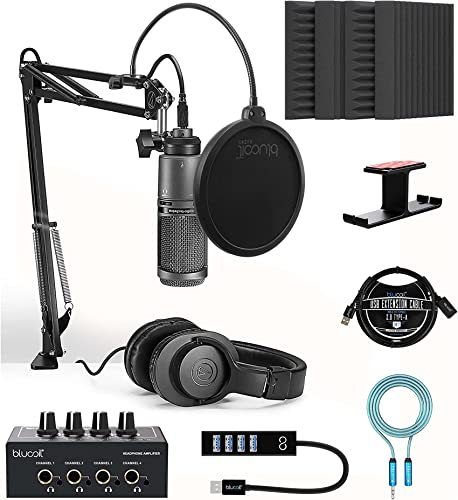 """lowest Audio-Technica AT2020USB+PK Vocal Microphone Pack for Streaming/Podcasting Bundle with Blucoil 4x 12"""" wholesale Acoustic Wedges, Headphone Amp and Hook, wholesale Pop Filter, USB-A Mini Hub and 3' USB Extension Cable outlet sale"""