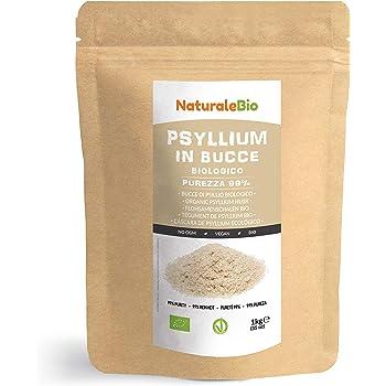Organic Psyllium Husk [99% Purity] 1 kg. 100% Pure & Natural Psyllium Seed Husks, Produced in India. High in Fibre, to be Mixed with Water, Beverages, Juices, Vegetarian & Vegan. NaturaleBio