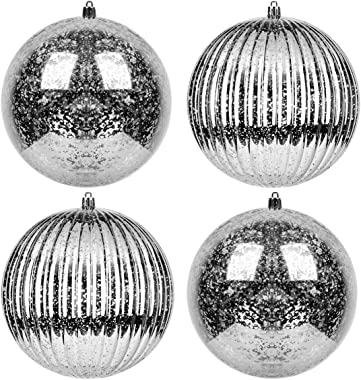 KI Store Christmas Ball Ornaments Silver Set of 4 Extra Large Hanging Tree Ball Ornament Decorations Super Large Shatterproof