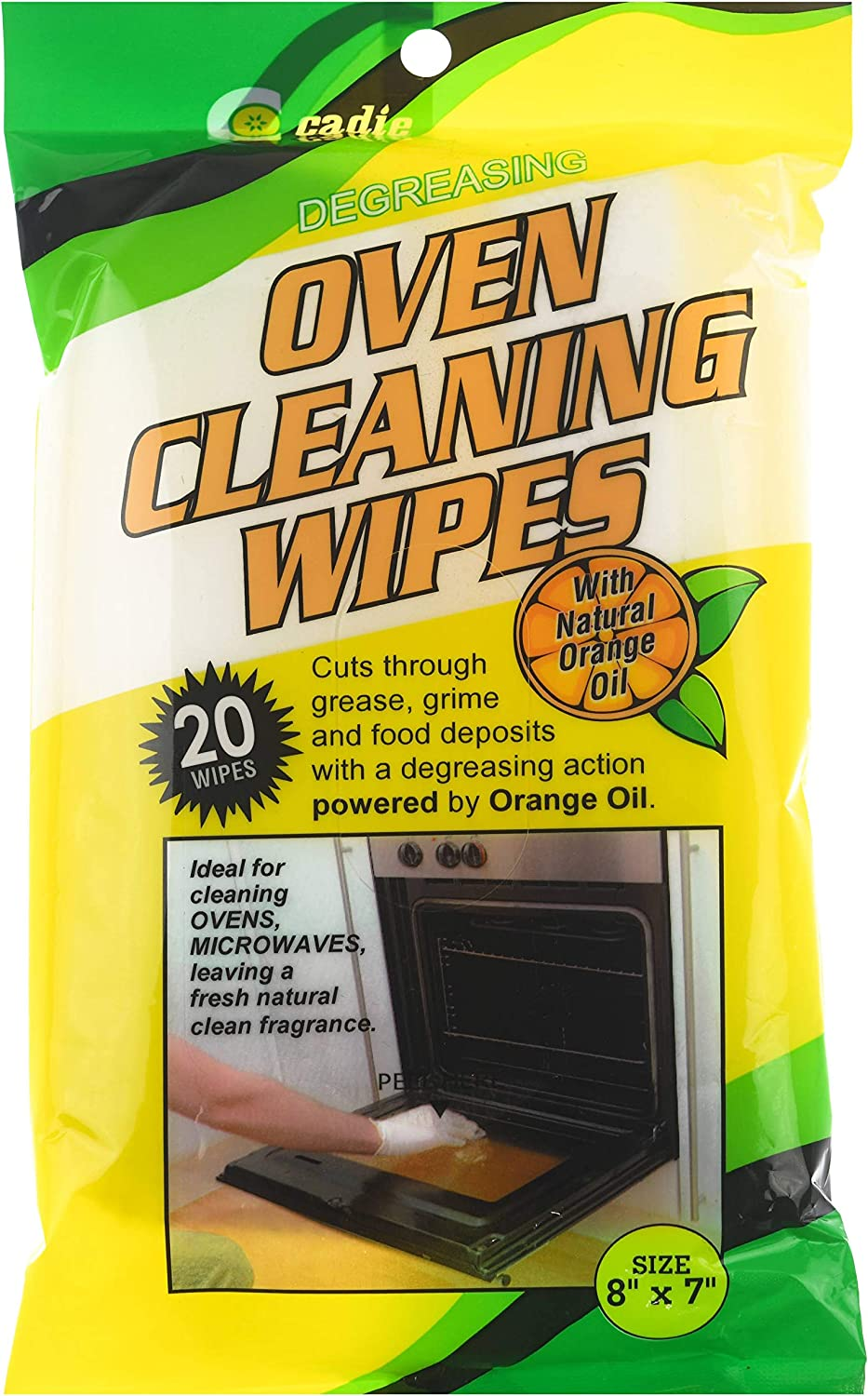 Oven and Microwave Cleaning Wipes – Effectively Removes all Grease, Grime and Food Stains on Kitchen Gadget – Leaves Fresh Natural Orange Scent | Degreasing Wipes 8x7 Inches (1 Pack 20 Wipes) By Cadie