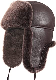 Unisex Shearling Sheepskin Leather Aviator Russian Ushanka Trapper Winter Fur Hat