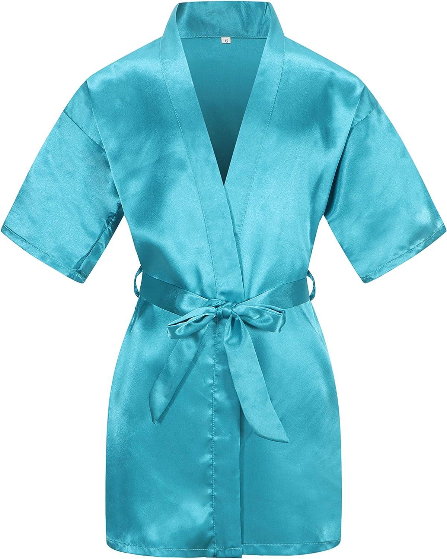 Kid's Satin Kimono Robe Flower Bathrobe Nightgown for Spa Party
