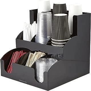 Mind Reader 9 Compartment Coffee Condiment and Accessories Organizer, Black