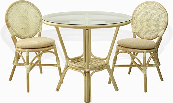 3 Pc Rattan Wicker Dining Set Round Table Glass Top 2 Denver Side Chairs With Cream Cushions White Wash