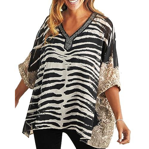 9e0c129baaf Ladies Embellished Beaded Animal Print Kimono Tunic Top in UK Sizes 10-38  EU 36