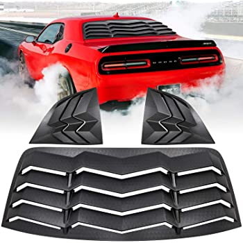 Bonbo Rear Window Louver Windshield Sun Shade Cover in GT Lambo Style ABS Fits for Dodge Challenger 2008-2020 Custom Fit Matte Black