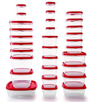 Rubbermaid Easy Find Vented Lids Food Storage Containers, Set of 30 (60 Pieces Total), Racer Red