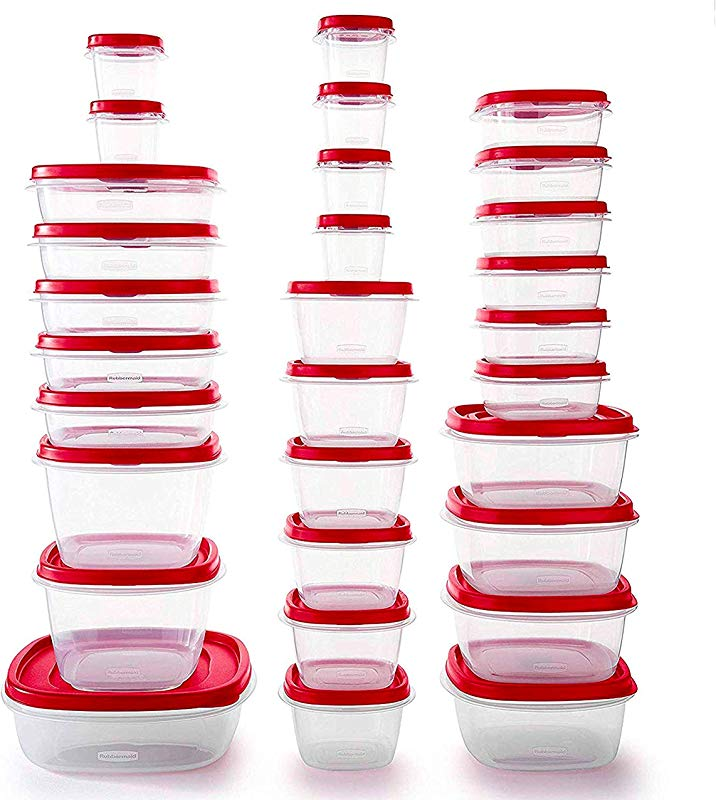 Rubbermaid Easy Find Vented Lids BPA Free Plastic Food Storage Containers Set Of 30 60 Pieces Total Racer Red Great For Meal Prep Reusable Stackable
