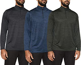 3 Pack: Men's Active Dry-Fit Quarter Zip Long Sleeve Outdoor Athletic Performance Pullover