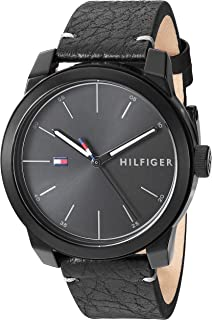 Tommy Hilfiger Men's Quartz Watch with Leather Calfskin Strap, Black, 19.5 (Model: 1791384)