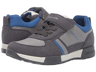 Geox Kids Jr Alfier 7 (Little Kid/Big Kid) (Dark Grey/Royal) Boys Shoes