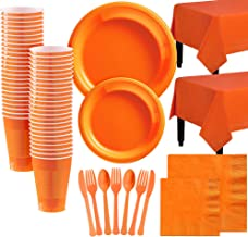 Party City Orange Plastic Tableware Kit for 100 Guests, 852 Pieces, Includes Plates, Napkins, Table Covers, and Utensils