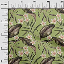 oneOone Cotton Silk Light Green Fabric Floral & Leaves Tropical Craft Projects Decor Fabric Printed by The Meter 42 Inch Wide