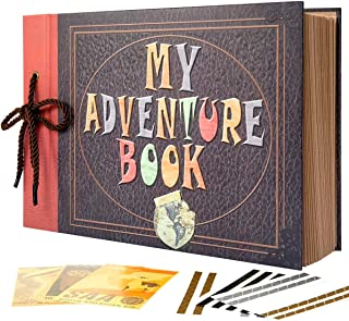 INNOCHEER Adventure Book with Embossed Cover, Large 12.3 x 8.3 Inch 80 Pages Scrapbook Album, Gifts for Thanksgiving Day, Christmas, Anniversary, Family Memory