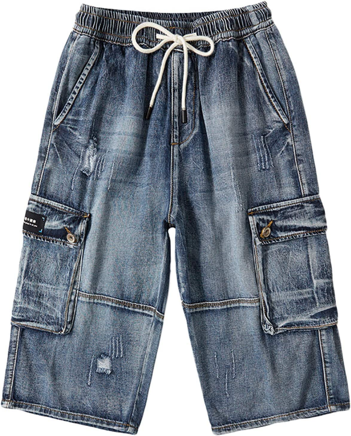 Yiqinyuan Summer Men Jeans Cargo Shorts Fashion Casual Elasticated Waist Stretch Big Pocket Cropped Jean Male