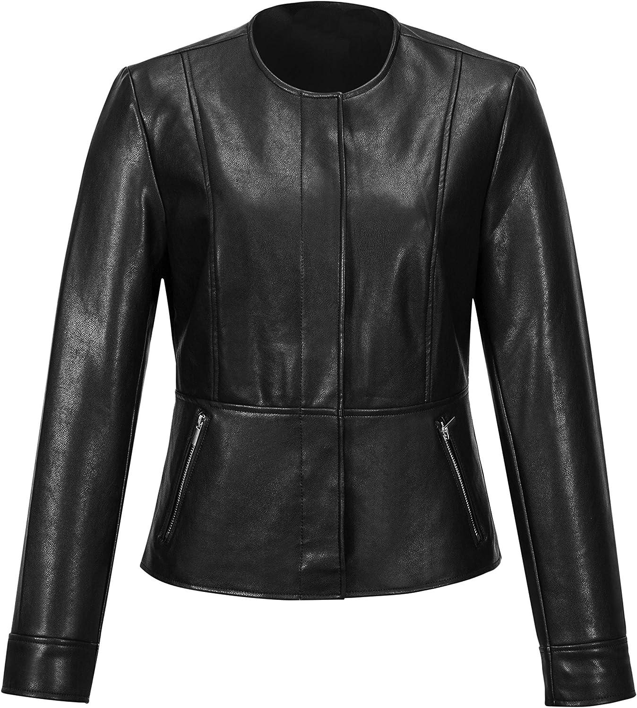MMCICI Womens Motorcycle Jacket Feaux Leather Jacket Bomber Jacket Short Coat Jacket