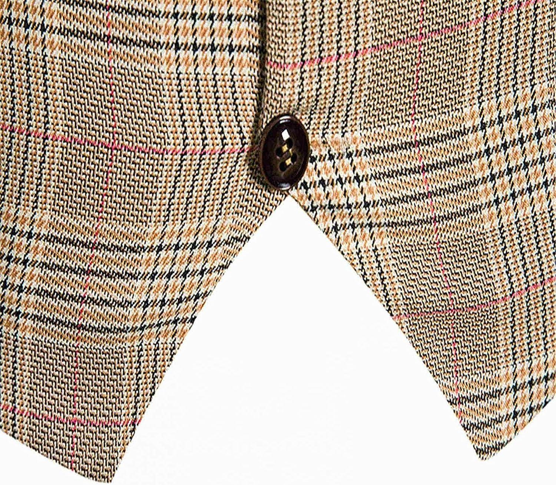 FUNEY Men's Business Suit Vest Paisley Plaid Casual Western Vest Jacket Slim Fit Vest Waistcoat for Wedding Party Dinner
