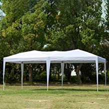 charaHOME 10 x 20 Canopy Tent Pop Up Portable Shade Instant Heavy Duty Outdoor Gazebo White Canopy Tent with Carry Bag for Outdoor Party Wedding Commercial Activity Pavilion BBQ Beach Car Shelter